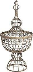 Benzara BM155892 Metal Basket with Finial Lid, Brown