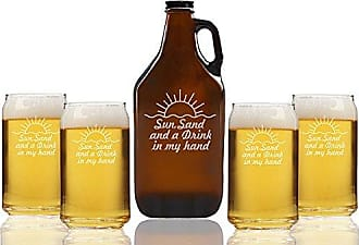 Chloe and Madison Sun Sand & A Drink In My Hand Beer Amber Growler & Can Glasses, Set of 5