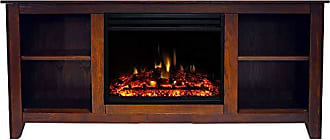 Cambridge Silversmiths Santa Monica Heater with 63-in. Walnut TV Stand, Enhanced Log Display, Multi-Color Flames, and Remote, CAM6226-1WALLG3 Electric Fireplace