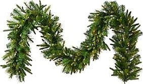 Vickerman Pre-Lit Cashmere Pine Garland with 550 Clear Dura-Lit Lights, 50-Feet, Green