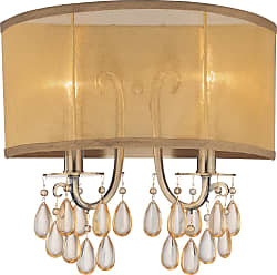 Crystorama 5622-AB Antique Brass Wall Sconce Accented with Etruscan Smooth Oyster crystals and Gold Silk Shimmer Shade