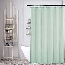 Duck River Textile Lala + Bash Juniper Metallic Fabric Shower Curtain Liner Waterproof, 70 x 70, Teal Blue