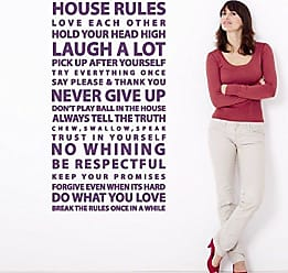 The Decal Guru House Rules Sayings Large Wall Decal Easy Application Vinyl Family Art Quote Home Decor Sticker (Violet, 48x26 inches)