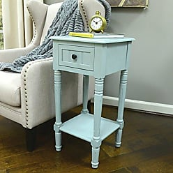 Decor Therapy FR1550 Simplify One Drawer Square Accent Table, Antique Iced Blue