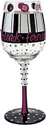 Enesco Designs by Lolita Girlfriends Forever Hand-painted Artisan Wine Glass, 15 oz