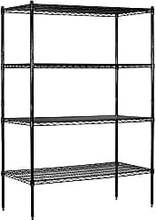 Salsbury Industries Stationary Wire Shelving Unit, 48-Inch Wide by 74-Inch High by 18-Inch Deep, Black