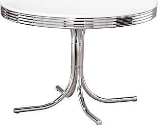 Coaster Retro Round Dining Table White and Chrome