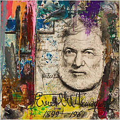 Louis Leonard Art Ernest Hemingway by Chengju Li Canvas Wall Art Print - CHL032-1818