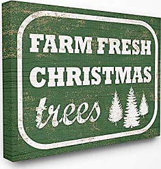 Stupell Industries The Stupell Home Décor Collection Holiday Rustic Distressed Green Vintage Sign Farm Fresh Christmas Trees Stretched Canvas Wall Art, 16 x 20, Multi-Color