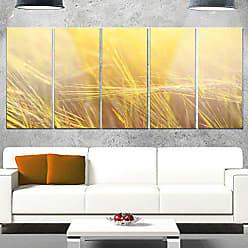 DESIGN ART Designart Wheat Field Close-up at Sunset - Large Landscape Glossy Metal Wall Art, 28 H x 60 W x 1 D 5PE, Orange