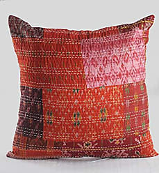 L.R. Resources Inc. LR Home Happie Maroon Kantha Throw Pillow, 20X20