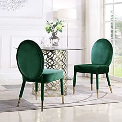 Iconic Home FDC9115-AN Leverett Dining Chair Upholstered Oval Back Armless Design Velvet Wrapped Wood Gold Tone Metal Tipped Legs (Set of 2) Modern Contemporary, Green