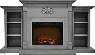 Cambridge Silversmiths CAM7233-1GRY Sanoma 72 In. Electric Fireplace in Gray with Built-in Bookshelves and a 1500W Charred Log Insert