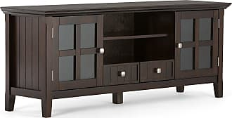 Simpli Home Acadian Solid Wood 60 TV Media Stand in Tobacco Brown