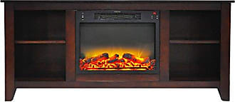 Cambridge Silversmiths CAM6226-1MAHLG2 Santa Monica 63 In. Electric Fireplace & Entertainment Stand in Mahogany with Enhanced Log Display