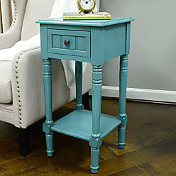 Decor Therapy FR1549 Simplify One Drawer Square Accent Table, Blue