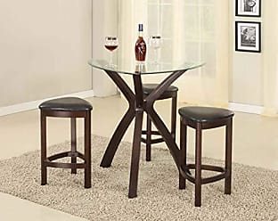 Round Hill Furniture 4-Piece Triangle Solid Wood Bar Table and Stools Set, Espresso