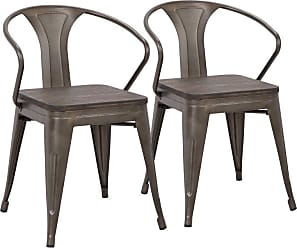LumiSource Waco Dining Arm Chair with Wooden Seat - Set of 2 - DC-WCO AN+E2