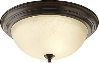 PROGRESS Antique Bronze 3-Lt. close-to-ceiling Etched Umber Linen glass bowl