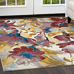 Home Dynamix Nicole Miller Parlin Zinnia Area Rug 79x95, Abstract Floral Burgundy/Blue/Yellow