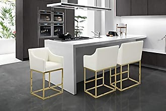 Iconic Home FCS9402-AN Bluebell Counter Stool Chair PU Leather Upholstered Slope Arm Design Architectural Goldtone Solid Metal Base Modern Contemporary, Cream