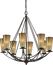 Feiss F2606/8MBZ El Nido Chandelier in Mocha Bronze finish with Striated Ivory Glass