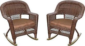 Jeco W00205R-C_2-FS007 Rocker Wicker Chair with Brown Cushion, Set of 2, Honey