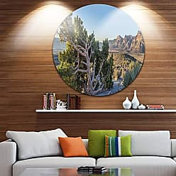 DESIGN ART Designart Rock Canyon Panorama Landscape Round Wall Art - Disc of 38 38x38-Disc of 38 inch, Red