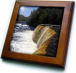 3D Rose ft_91195_1 Upper Tahquamenon Waterfalls, Michigan - US23 DFR0232 - David R. Frazier - Framed Tile, 8 by 8-Inch