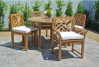 Willow Creek Designs Outdoor Willow Creek Monterey 5 Piece Round Teak Patio Dining Set Canvas Heather Beige - WC-27-5476