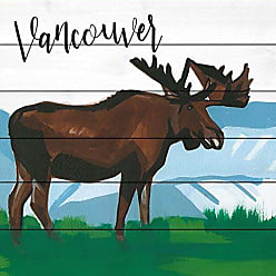 Marmont Hill Vancouver Moose by Molly Rosner Painting Print on White Wood 18x18 Multicolor