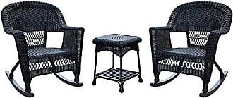 Jeco W00207R-D_2-RCES 3 Piece Rocker Wicker Chair Set, Black