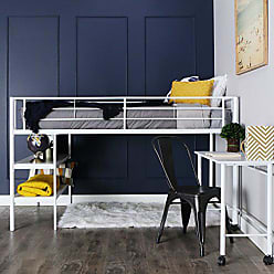 Walker Edison WE Furniture Twin Low Loft Metal Bed, White