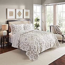 Ellery Homestyles Marble Hill 16213BEDDQUETAU Torrey 90-Inch by 90-Inch 3-Piece Reversible Full/Queen Quilt Set, Taupe