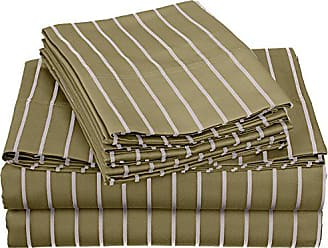Superior Cotton Blend 600 Thread Count, Deep pocket, Wrinkle Resistant 6-Piece Queen Bed Sheet Set with BONUS Pillowcases, Bahama Striped, Sage with White Stripes