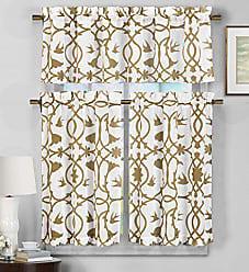 Duck River Textile Duck River Textile Dawn Faux Linen Floral 3 Piece Kitchen Window Curtain Tier & Valance Set, 2 29 x 36 & One 58 x 15, Wheat