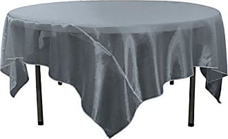 LA Linen Sheer Organza Square Tablecloth, Navy, 72 by 72