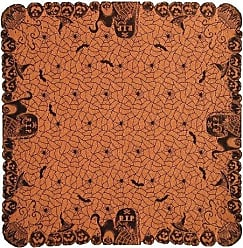 Heritage Lace Rest in Peace 60-Inch by 60-Inch Table Topper, Black/Orange