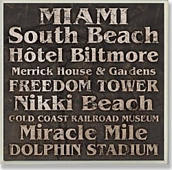 The Stupell Home Décor Collection Stupell Home Décor Miami Landmarks Square Wall Plaque, 12 x 0.5 x 12, Proudly Made in USA