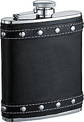 Visol Products Visol Rocker Leather Studded Liquor Flask, 6-Ounce, Black