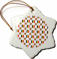 3D Rose orn_63239_1 The Flag and Coat of Arms of The Kingdom of Belgium Make a Colorful Belgian Pattern Snowflake Ornament, Porcelain, 3-Inch