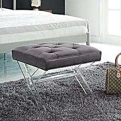 ModWay Modway Swift Acrylic X-Base Entryway Modern Bench With Tufted Fabric Upholstery in Gray