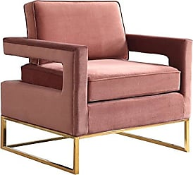Meridian Furniture 511Pink Modern | Contemporary Pink Velvet Upholstered Accent Chair with Stainless Steel Base in a Rich Gold Finish, 33.5 W x 29.5 D x 35.5 H