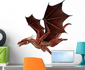Wallmonkeys Red Dragon White Wall Decal Peel and Stick Graphic (24 in W x 17 in H) WM362105