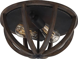 Feiss Allier 2 Bulb WEATHER OAK WOOD / ANTIQUE FORGED IRON Flushmount