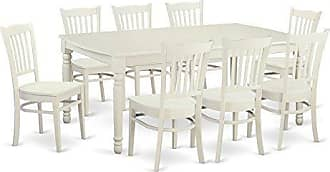 East West Furniture DOGR9-LWH-W 9 Piece Dining Room Table and 8 Kitchen Nook Chairs
