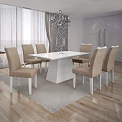 Leifer Conjunto Sala de Jantar Mesa Tampo MDF/Vidro Branco 6 Cadeiras Pampulha Leifer Branco/Linho Bege