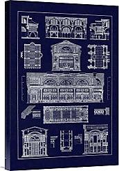 Bentley Global Arts Global Gallery Budget GCS-394687-1624-142 J. Buhlmann Interiors with Cross Cupola Vaulting (Blueprint) Gallery Wrap Giclee on Canvas Wall Art Print