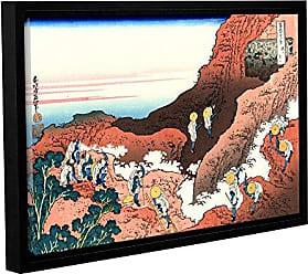 ArtWall Katsushika Hokusais Climbing on Mt. Fuji Gallery Wrapped Floater-Framed Canvas Artwork, 12 x 18