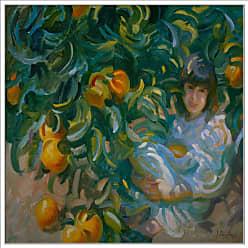 Ptm Images Under the Orange Tree Framed Canvas Wall Art - 9-120367